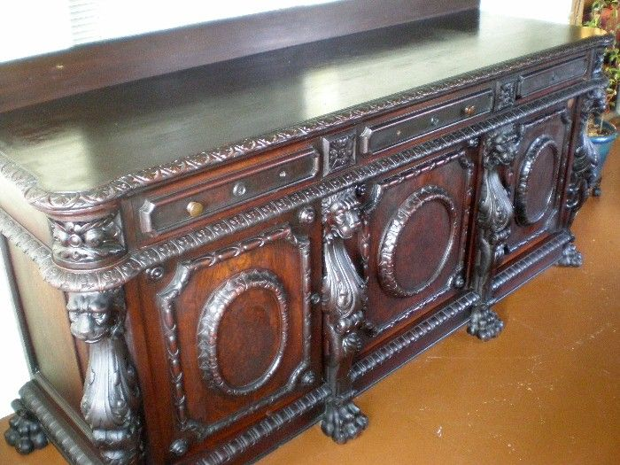 Magnificent Antique Carved Lion Side Board - Wow!
