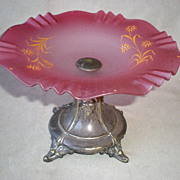 SOLD Beautiful Cranberry Glass Compote with Silver Plate Stand - Red Tag Sale Item
