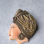 Fabulous Edwardian Celluloid Woman's Head Pin / Brooch