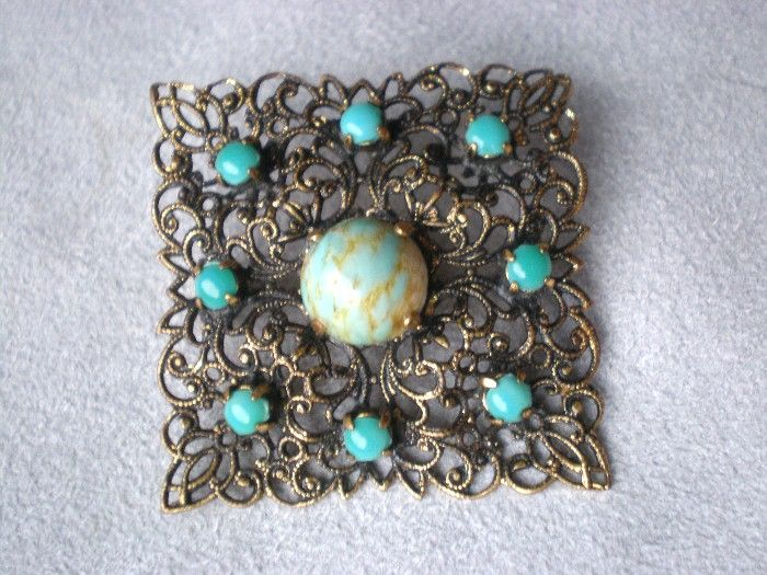 Beautiful German Filigree and Turquoise Pin or Brooch