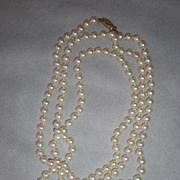 Beautiful Opera Length Pearl Necklace with 14k Gold Clasp