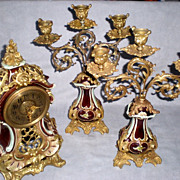 Antique Lenzkirch Porcelain and Brass Ormolu Clock Garniture Set