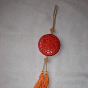 Beautiful Vintage Carved Cinnabar Medallion