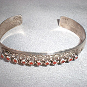 Fabulous Sterling Silver and Coral Cuff Bracelet