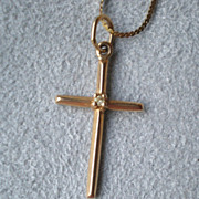 Fabulous 14k Gold Cross Pendant Necklace