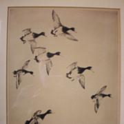 """Fabulous Listed Artist """"Churchill Ettinger (1903-1984)"""" Etching - Ducks"""