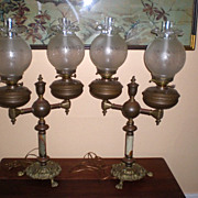 """Magnificent Pair """"Duplex"""" Double Student Lamps"""