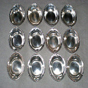 12 Shreve & Co. Sterling Silver Individual Nut Dishes with Bags