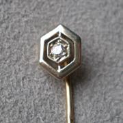 Gorgeous 14k Gold  and Diamond Stick PIn