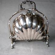 Stunning Victorian Silver Plate Clam Shell Bun Warmer