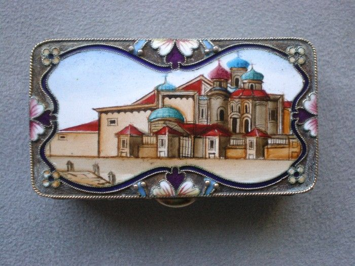 Gorgeous Russian Gilt 88 Silver and Enamel Snuff Box