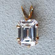 Beautiful 14k Gold and Emerald Cut CZ Pendant