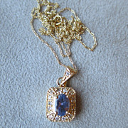Beautiful 10k Gold and Tanzanite Pendant with Chain