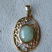 14k Gold and Green Jade Filigree Pendant
