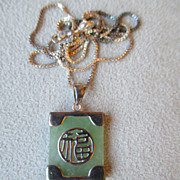 Sterling Silver and Green Jade Pendant Necklace