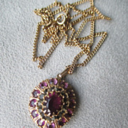 10k Gold and Amethyst with Smoky Quarts Pendant Necklace
