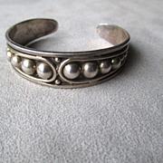 Sterling Silver Taxco Beaded Cuff Bracelet