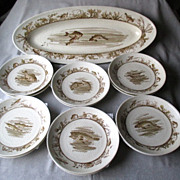 Haviland Limoges Fish Set - Platter and 12 Plates