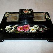 SOLD Victorian Paper Mache Ink Stand