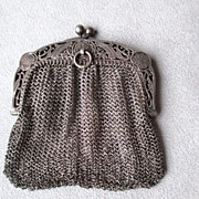 Vintage 800 Silver Mesh 2 Compartment Purse