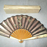 SOLD Vintage Fan with Bees and Moths