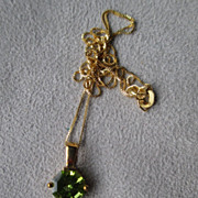 10k Gold and Octagonal Cut Peridot Pendant Necklace