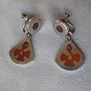 Los Castillo Taxco Mexico Mixed Metal Abstract Earrings