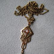 Beautiful 10k Gold and Diamond Lavalier Pendant