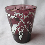 Enamel Amethyst Glass Tumbler - Lily of the Valley
