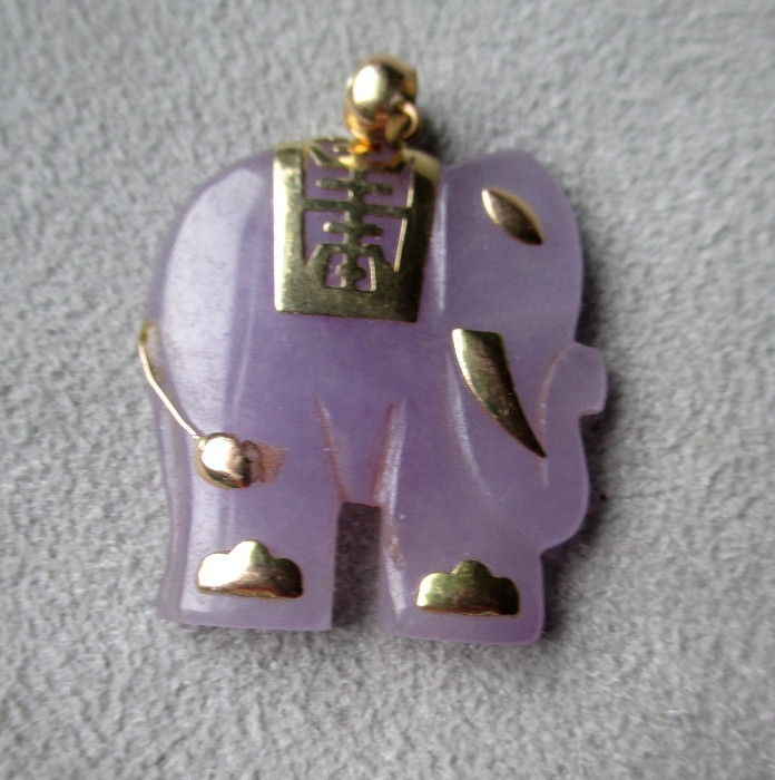 14k gold and lavender jade elephant pendant from rubylane