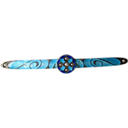 Victorian Sterling and Enamel Bar Pin with Seed Pearls