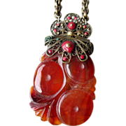 Chinese Carved Carnelian Pendant Necklace