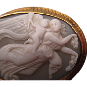 "Edwardian 9ct Gold ""Psyche & Eros"" Carved Cameo Brooch"