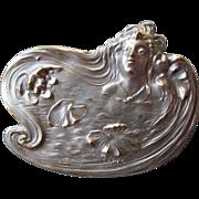 Fabulous Silver Plate Art Nouveau Pin