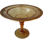 Beautiful Amber Compote with Etched and Gold Rim