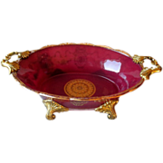 Stunning Brass Mounted Cranberry Glass Center Bowl