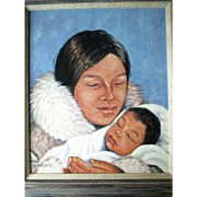 """Listed Canadian Artist """"Mona Thrasher (192-)"""" Portrait Painting"""
