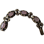800 Silver Austria-Hungarian Rose Quartz Link Bracelet