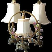 Vintage Three Piece French Boudoir Lamp Set