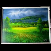 Original Jon Rattenbury Acrylic Painting - Grey Sky Meadow