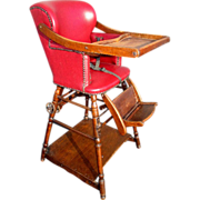 Antique Victorian High Chair which Converts to Play Table