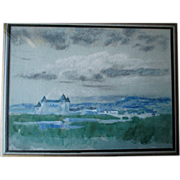 "Original ""Arthur B. Davies (1862-1928)"" Watercolor Painting - Chateau"