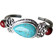 Stunning Sterling Silver with Turquoise and Coral Bracelet