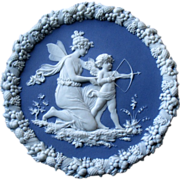 Shafer & Vater Jasperware Plate with Angel and Cupid