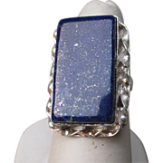 Large Sterling Silver and Lapis Ring