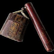 19th Century Japanese Cherry Bark Kiseruzutsu Pipe Case and Inro