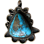 Vintage Silver and Turquoise Pendant