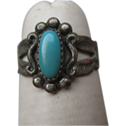 Fun Vintage Navajo Sterling and Turquoise Child's Ring