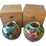 Stunning Pair Old Japanese Plique a Jour Cloisonne Vases with Boxes