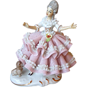 Vintage Dresden Lace Doll Figurine